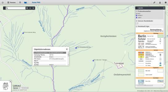 Beispiel für die kartographische Darstellung einer Probenahmestelle in Cadenza Web mit Legende und Objektinformation