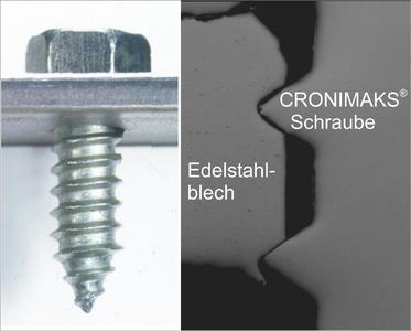 Die Schnittanalyse belegt: die Gewindeflanken herkömmlicher gewindefurchender Schrauben versagen in hochfesten Stählen - die EJOT Cronimaks nicht