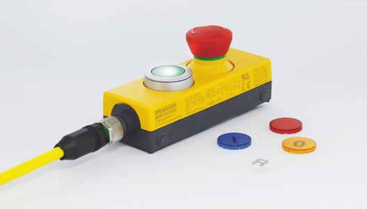 NOT-HALT-Taster mit beleuchtetem RESET-Taster und eingefärbten Tastenkappen