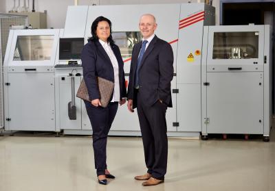Die Geschäftsführung der Polytron-Print GmbH: Katja Skarupa-Pacella und Michael Müller