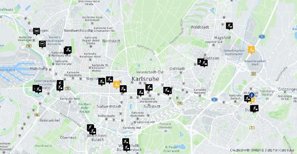 Baustellenplanung mit routingfähigen Straßendaten von HERE Technologies / beispielhafte Darstellung