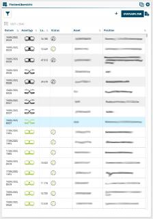 NIC-place Flottenübersicht enthält alle Details der einzelnen Asstes eines gekoppelten Zuges
