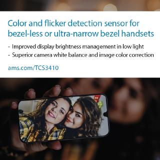 ams introduces small form-factor color and flicker detection sensor optimized for bezel-less and ultra-narrow bezel smartphones