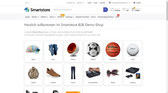 Ein Screenshot vom Smartstore Shopsystem