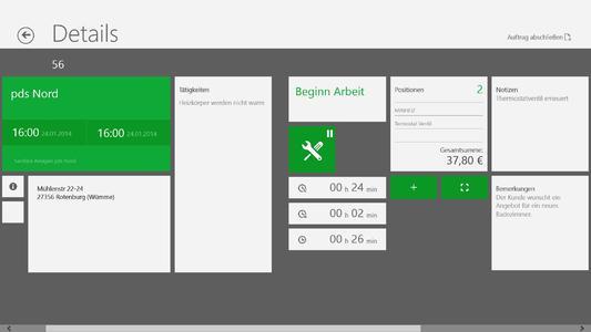 Screenshot pds service: Übersicht Serviceauftrag in Windows 8
