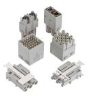The new in the Han-Modular portfolio: Han® Shielded Power (front), Han DD® double module (center) and Han® M12 module