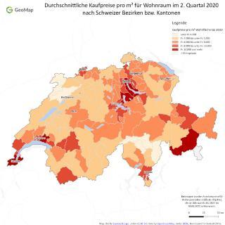 Durchschnittliche Kaufpreise pro m² für Wohnraum im 2. Quartal 2020 nach Schweizer Bezirken bzw. Kantonen // Quelle: geomap GmbH