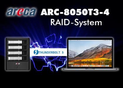 Extern angedockt, aber schneller wie eingebaut: Starline liefert schlankes Thunderbolt-3-System ARC-8050T3-4 von Areca
