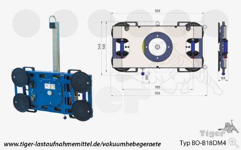 Vakuum-Hebegerät Typ BO-B18DM4 für den Kranbetrieb 2/2