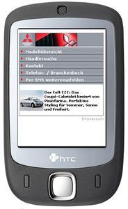 Homepage Mitsubishi per Handy