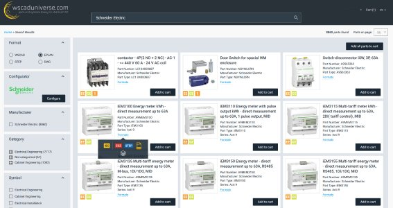 E-CAD-Anwender können in wscaduniverse.com rund 30.000 Produktdaten des Elektronikkonzerns Schneider Electric in den Formaten WSCAD, EDZ und DWG abrufen