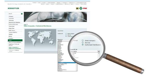www.schaeffler.com provides a list of the certified distributors in each country.