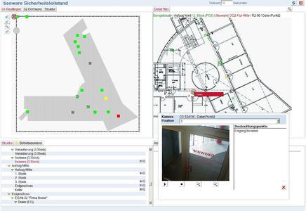 Abb.: tisoware.ZUTRITTvisual Sicherheitsleitstand mit Videoüberwachung