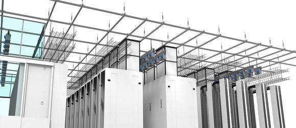 Das Deckentragsystem ermöglicht die Abhängung von Stromschienen, Kabeltrassen und Beleuchtung sowie die Errichtung von Sicherheitskäfigen, Warmgangeinhausungen und Kanälen für die Warmluftrückführung.