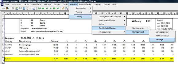 Beispielreport im contractmanager 3.11: Nicht geleistete Zahlungen aus Vertrag