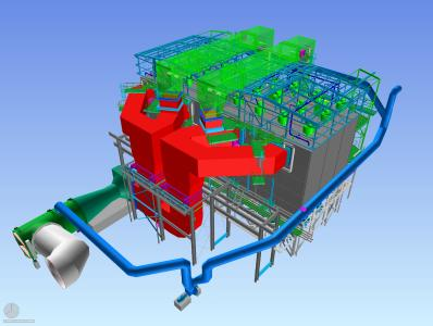 3D image of the fabric filter plant