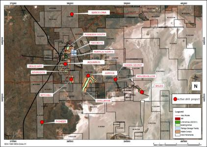 Figure 1: Plan view of active HGO mines and exploration projects
