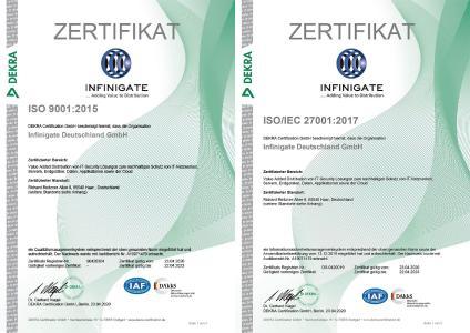 Infinigate ISO Zertifikate 2020