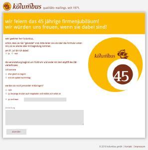 Interaktive Anmeldewebseite der Einladungskampagne