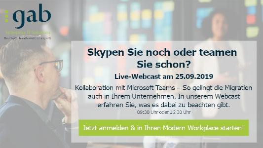 Skypen Sie noch oder teamen Sie schon? In unserem Live-Webcast am 25.09.2019 zeigen wir Ihnen, was es bei einer erfolgreichen Einführung unbedingt zu beachten gibt