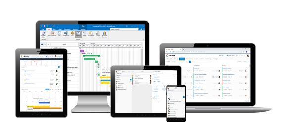 Abb. 1 Geräteübergreifendes Projektmanagement: InLoox für Outlook, InLoox Web App und Mobile App