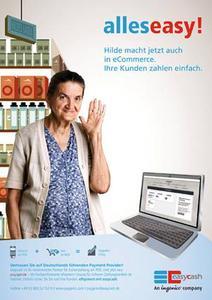 """Alles easy! Zusammen mit Werbefigur """"Hilde"""" präsentiert easycash die Vorteile der neuen ePayment-Lösung paygenic. © easycash GmbH"""