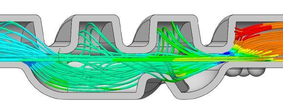 Strömung in der Pulverkammer des Inhalers nach Geometrie Modifizierung vom Dienstleister. Solidworks Flow Simulation macht deutlich, dass hier etwas schief gegangen ist