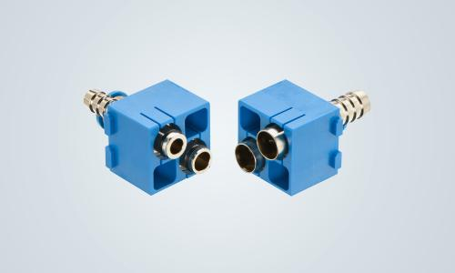 Han-Modular® pneumatic double module for the installation of powerful compressed air networks in industrial connectors