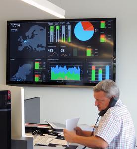 Mithilfe des Realtime Statusboard wird die Fülle an transportrelevanten Kennzahlen übersichtlich, grafisch und in Echtzeit dargestellt