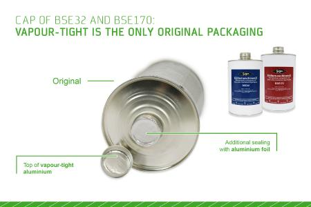 Image 3: The vapour-tight packaging (here: caps of BSE32 and BSE170, used in Europe) gives evidence of the oil being a BITZER Original