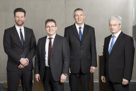 Von links: Pascal Forrer (Global Sales and Marketing Director), Richard Weber (Präsident und CEO), Stefan Weber (Vize Präsident) und Urs Stephan (Leiter Finanzen und Personal)