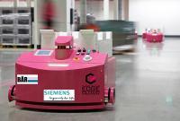 Lösung für KI-basierte Logistikoptimierung mit FTS-Systemen von German Edge Cloud, Bär Automation und Siemens MindSphere
