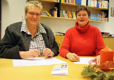 FH-Kanzlerin Sabine Christiansen und Adelby1-Geschäftsführerin Brigitte Handler. Foto: Gatermann