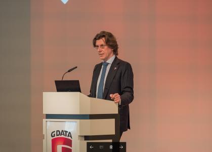 Kai Figge, G DATA Vorstand und Mitgründer, begrüßt die Teilnehmer des Bankentags / Foto: G DATA