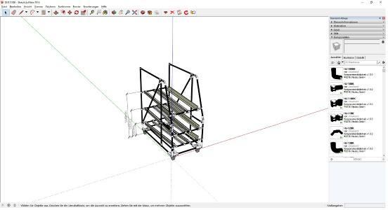 Ein Durchlaufregal wird in der Planungssoftware von NeoLog konfiguriert (Bildquelle: NeoLog)