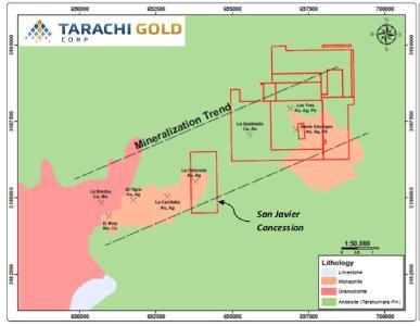 Abbildung 1- San Javier Mineralisierungstrend