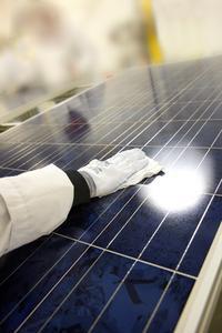 Solarmodul in der Produktionsstätte von Canadian Solar in Guelph in Ontario