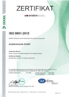DEKRA bestätigt aviationscouts GmbH die Zertifizierung nach EN 9100:2018 und ISO 9001:2015