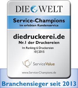 """diedruckerei.de trägt für ein weiteres Jahr das Gütesiegel """"Service-Champion"""""""