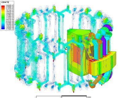 Simulation einer Klauenpolmaschine: Zu sehen sind die Flussdichte in den Eisenteilen und die Stromdichten in der Wicklung.