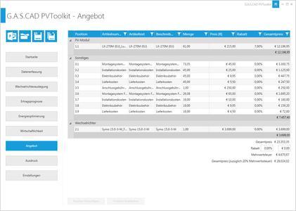 Angebots Editor plan4 PVToolKIT
