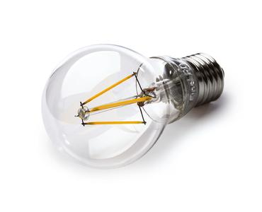 The light-emitting diodes arranged in rows resemble the filament of a traditional light bulb.