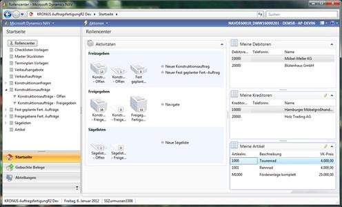 Das Tectura-Rollencenter für den Konstrukteur in Microsoft Dynamics NAV 2009