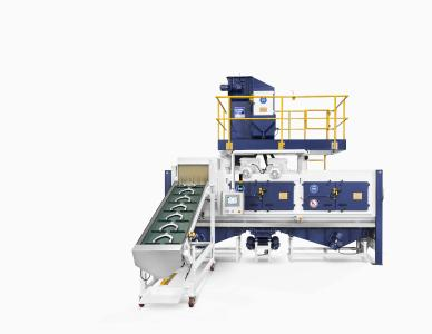 The troughed belt continuous feed shot blast machines, type THM, with curved throwing blades reduce cycle times