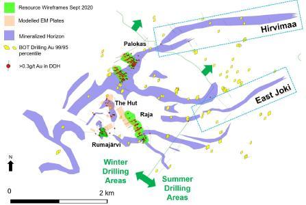 Abbildung 1: Lageplan des Projekts Rajapalot mit Drahtgittermodellen der Ressourcen aus der Ressourcenschätzung vom September 2020, modellierten EM-Platten der Base-of-Till Bohrungen (BOT, Bohrungen ab der Basis des Geschiebemergels) mit anomalen Gehalten und den im Sommer genehmigten Zielgebieten East Joki und Hirvimaa