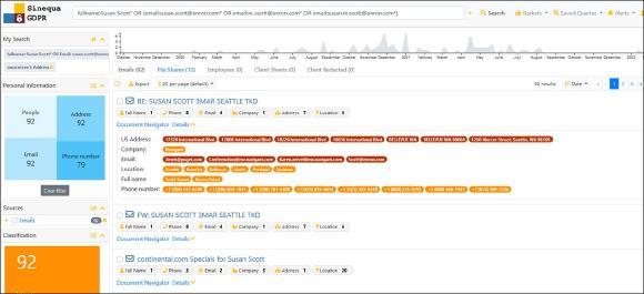 Darstellung von Suchergebnissen im neuen Sinequa Release 11.2. Abb. Sinequa