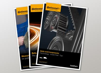 """New information material from ContiTech: The """"Belts and components. Technology – Know-how – Tips"""" publication provides technical know-how on all aspects of belt drives. The product and tool ranges are outlined in two other brochures"""