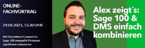 Einladungsheader_Online-Fachvortrag_29-06-2021 um 13.30 Uhr_Alex zeigt´s_Sage 100 & DMS einfach kombinieren
