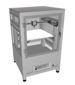 Noch eine CAD-Zeichnung, auf der Hannover Messe dann im Original auf dem Stand von Bahr Modultechnik zu sehen: der in Kooperation mit der Systec GmbH entwickelte FDM-3D-Drucker für große Arbeitsräume.