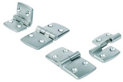 Hoch belastbare Aluminiumscharniere bietet KIPP für linke und rechte Seiten zum Aushängen sowie als fest mit der Achse verbundene Typen an. Sie eignen sich für verschiedenste Anwendungen im Maschinen- und Anlagenbau, Foto: KIPP